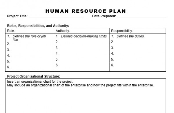 Human resource plan planning engineer est for Human resource plan template pmbok