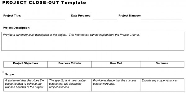 Project Close-Out Template – Planning Engineer Est.