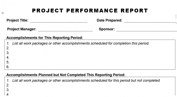 PROJECT PERFORMANCE REPORT Template In Word Format With Description What Is  Required In Each Field To Fill