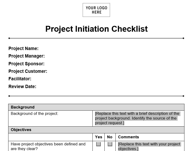 Project Initiation Checklist  Planning Engineer Est