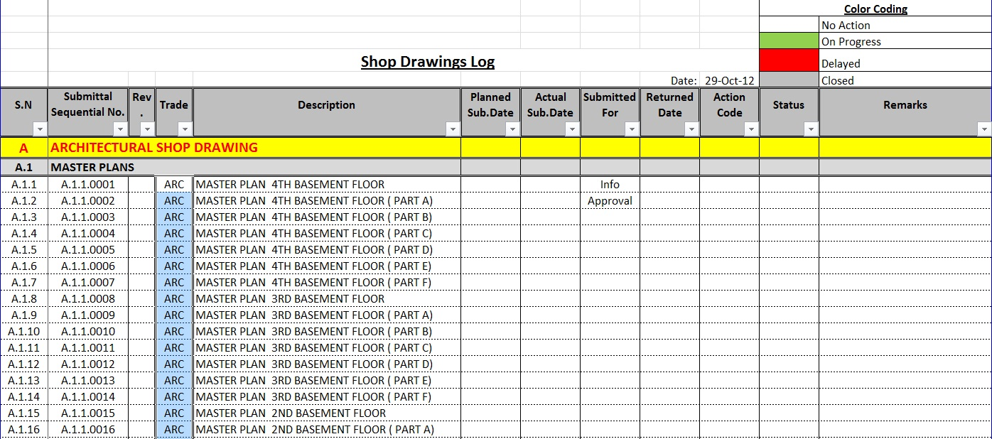 how to create a shop drawings log with sample file