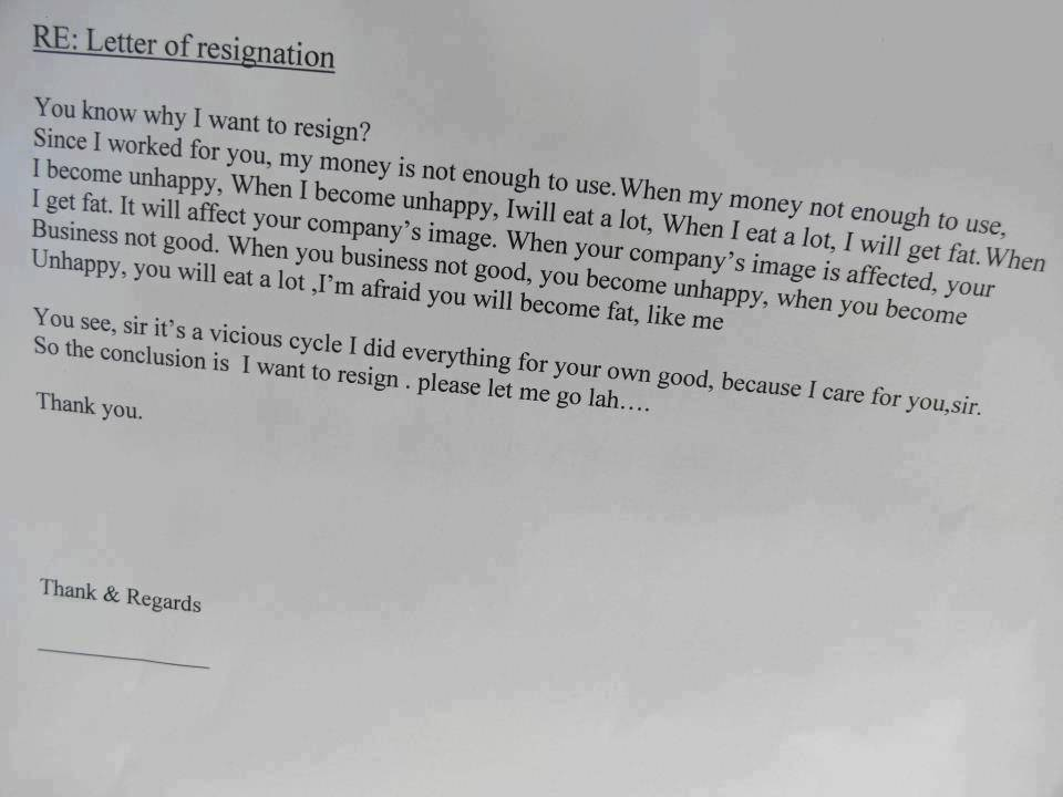 Creative letter of resignation - Planning Engineer Est.
